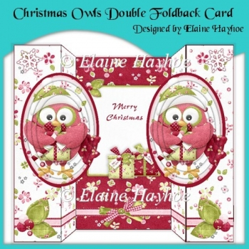 Christmas Owls Double Foldback Card