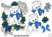 cute kitty lovely blue heart and roses & bow with a scroll