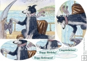 Border Collie dog rounding up waves at sea, oval pyramage