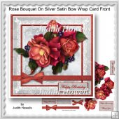 Rose Bouquet On Silver Satin Bow Wrap Card Front