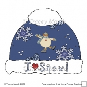 Blue Snowflake Christmas Bobble Hat Card Set