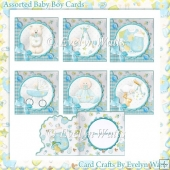 6 Shaped Baby Boy Card Kit