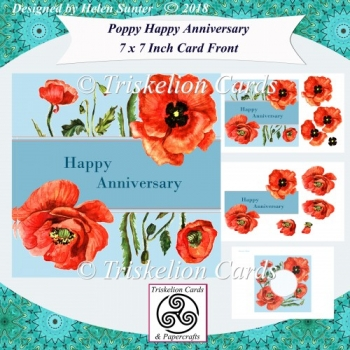 Poppy 7 Inch Card Front & Insert with Decoupage - Anniversary