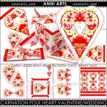 Carnation Red Folk Heart Crafts