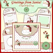 Greetings from Santa! - Fold Over Flap Envy Card