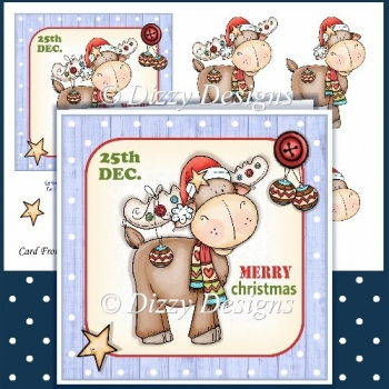 Christmas Reindeer Card Front & Decoupage