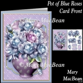 Pot of Blue Roses Card Front