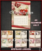 Vintage A4 Calendar 2017 Kit Vintage Butterflies and Flowers