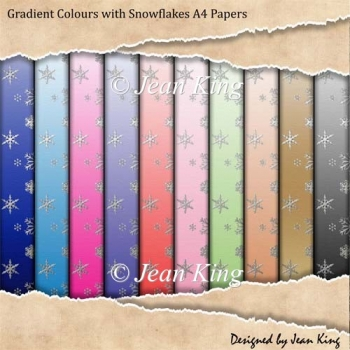 Gradient Colours with Snowflakes A4 Papers
