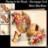 Playing in the Woods - Decoupage Card