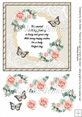 Gold and cream floral verse with orange and green flowers A4