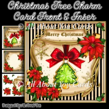 Christmas Tree Charm Card Front & Insert
