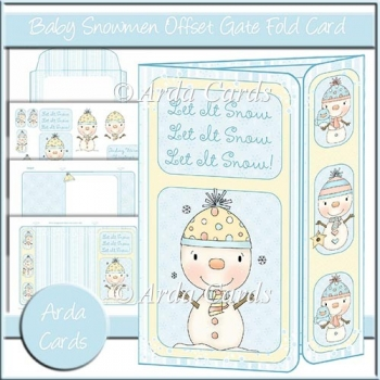 Baby Snowmen Offset Gatefold Card