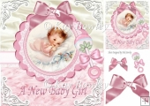 Cute little smiling baby girl wth rattle & bow 8x8