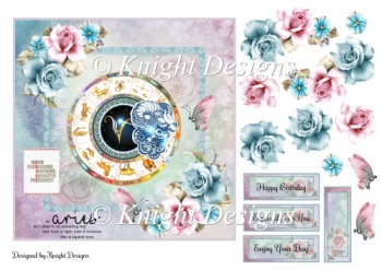 Aries Zodiac Card Front With Decoupage