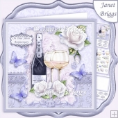 CHAMPAGNE CELEBRATIONS SILVER 7.8 Decoupage & Insert Mini Kit