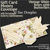 Vintage White Roses with Butterflies Card/Money Envelope MiniKit