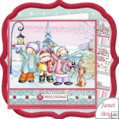 Christmas Carol Singing Kids 8x8 Decoupage & Insert Kit