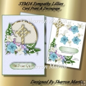 SYM16 Sympathy Lillies Card Front & Decoupage