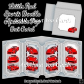 Little Red Sports Car Double Aperture Pop Out Card