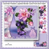 Summer Flowers Layered Border Card Front And Insert