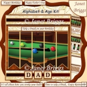POOL BILLIARDS 7.5 Alphabet and Age Quick Card Create Any Name