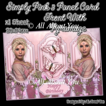 Simply Pink 3 Panel Card Front