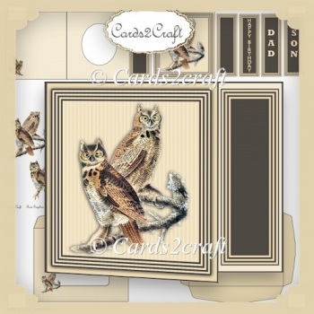 Off cut two owls card set