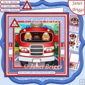 FIRE ENGINE ON STANDBY Adult or Children Decoupage Ages & Insert