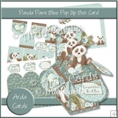 Panda Paws Blue Pop Up Box Card