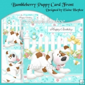 Bumbleberry Puppy Card Front with Decoupage