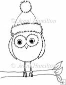 Xmas Owl Digital Stamp/Line Art