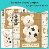 Footballer Bear Cardfront with Decoupage