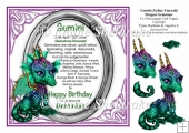 8 x 8 Gemini Zodiac Birthday Gemstone Dragon Topper & Decoupage