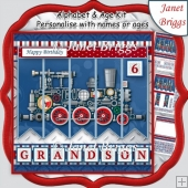 STEAM TRAIN 7.5 Alphabet and Age Quick Card Kit Create Any Name