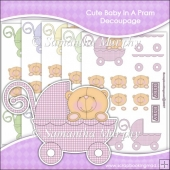 Cute Baby In A Pram Decoupage Download