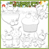 Sweet Stuff Fairy Hippos 1 Commercial Use Digital Stamps