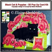 Black Cat & Poppies - 3D Pop Up Card Kit