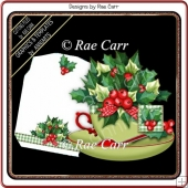 AA Holly & Berries Teacup Card *MACHINE Formats*