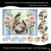 Roses with Nesting Birds Topper with Decoupage