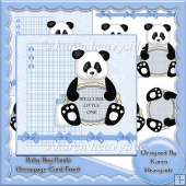 Baby Boy Panda Decoupage Card Front