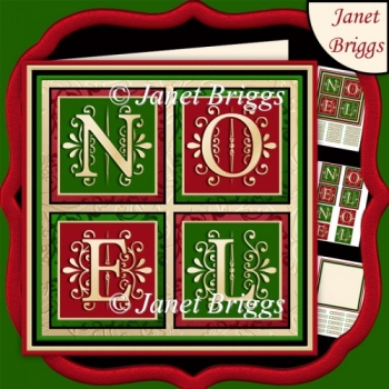 NOEL SQUARES Christmas 7.5 Quick Layer Card & Insert