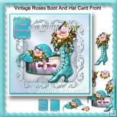 Vintage Roses Boot And Hat Card Front