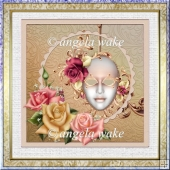 Mask of mystery 7x7 card with decoupage