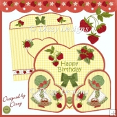 Strawberry Delight! Wrap Around Heart Gatefold Cards