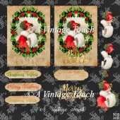 Vintage Christmas Holly Girl in Red