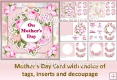 Mother's Day Card plus Birthday tags. Female Card 6x6