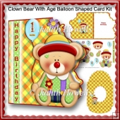 Clown Bear With Age Balloon shaped Card Kit