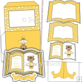 Yellow Dressed Up Bear Open Book Card Set