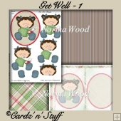 Get Well Decoupage, Card Insert & Backing Papers - 1